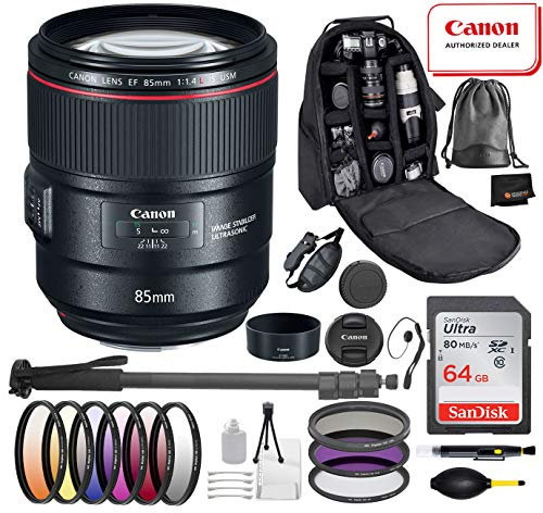 Canon EF 85mm f/1.4L is USM Lens with Professional Bundle Package Deal Kit Includes San Disk 64gb SD Card + 3pc Filter Kit (UV, CPL, FLD) + 72″ Monopod + More
