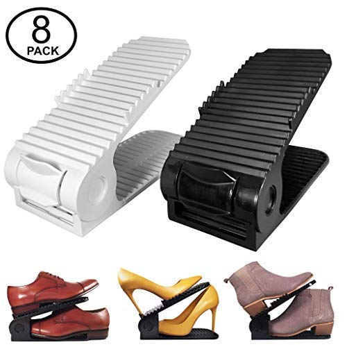 2018 New Upgraded Adjustable Shoes Organizer in Black | Best Quality Shoe Slots | Closet Storage Space Saver | Durable Shoe Slotz | Holds High Heels to Sneakers, For men, women and kid shoes (8 Pack)