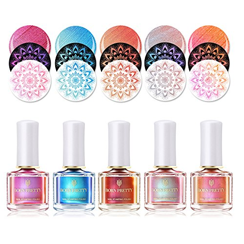 BORN PRETTY 5 Bottles Nail Art Chameleon Stamping Polish New Style Manicure Plate Printing Lacquer Varnish Black Base Needed 5 Colors Set