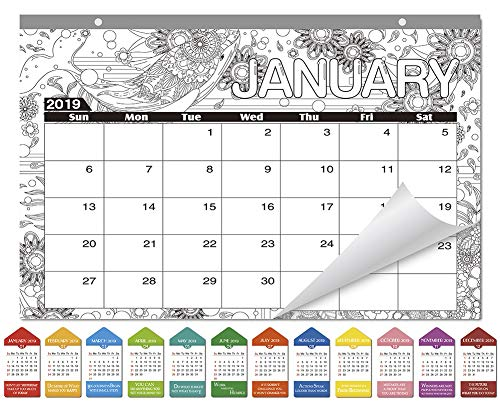 SICOHOME Coloring Desk Pad Calendar,Animals,16