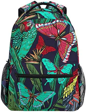 熱帯雨林の蝶のオウムショルダー バックパック 学生 ブックバッグ 旅行 キッド ガールズ ボーイズ用