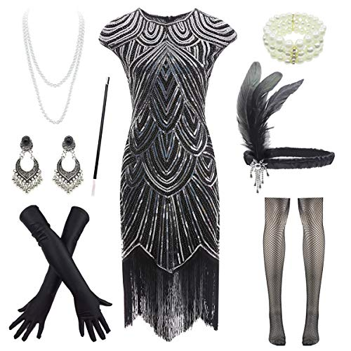 1920s Flapper Dress Roaring 20s Great Gatsby Fringed Sequin Dress Accessories Set -