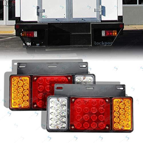 12V 44 LEDs Rear Lamp Tail Lights For GMC W Series Isuzu Elf Truck NPR NPR-HD NKR NHR NRR FSR FRR 1984- Taillight Assembly (Waterproof level IP66) ()