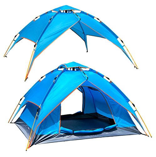 McWay Automatic Camping Tent - Instant Hydraulic Pop Up Tent - Waterproof 3 Person Tent 2 in 1 w/Sun Shelter Portable & Lightweight (Aqua)