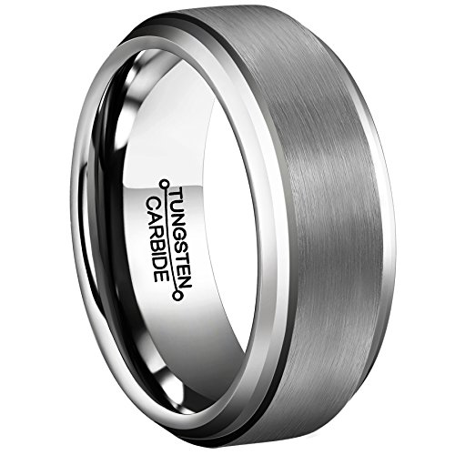 MNH Tungsten Rings for Men 8mm Wedding Band Comfort Fit Brushed Matte Finish Beveled Edge Size (Tungsten Carbide Beveled)