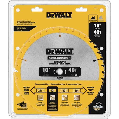 DEWALT DW3114 Series 20 10-Inch 40 Tooth ATB Thin Kerf Saw Blade with 5/8-Inch Arbor (Tooth Atb Thin)