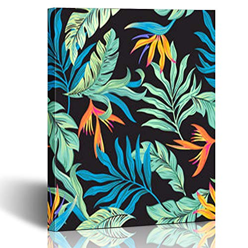 Canvas Prints Wall Art Stretched Framed Tropical Flower Bird Paradise Blue Leaves 8 x 10 Inches Modern Painting Home Decor Wrapped Gallery Artwork
