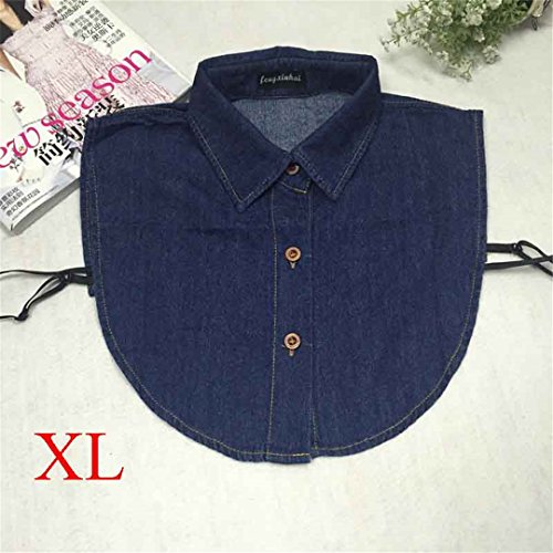 Fake Collar Shirt Vintage Blue Jeans Detachable Collar Vintage False Collars Nep Kraagje Blouse For Women Men Clothes Tops XL deep blue