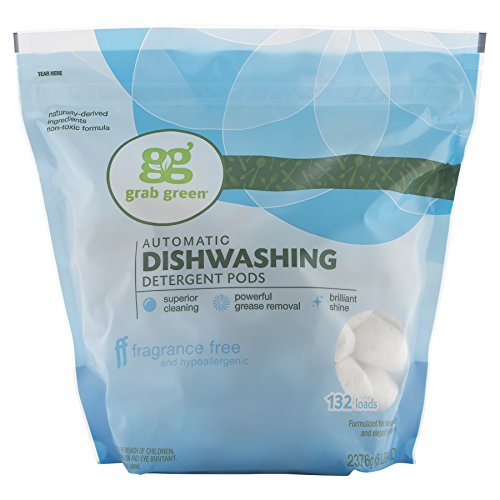 Grab Green Natural Dishwasher Detergent Pods, Fragrance Free, Organic Enzyme-Powered, Plant & Mineral-Based, Free & Clear/Unscented, 132 Loads
