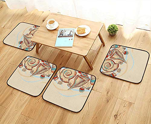 - Leighhome Anti-Skid Chair Cushions Pastel Colored Macro Seashells Picked from Beach Drifts Coral Marine Mollusk Theme Cream Health is Convenient W19.5 x L19.5/4PCS Set