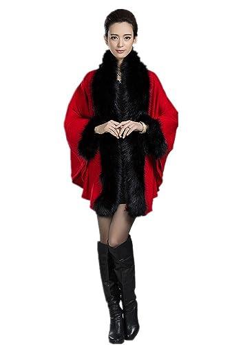 Charmly - Abrigo - para mujer rojo Negro Rojo Talla única