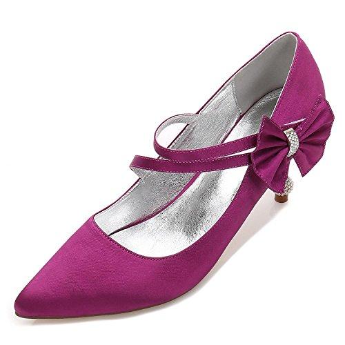 Plateau Alto Punta Scarpe High Plateau Tacco Viola Chiusa Shoes Sposa Elegant Fibbia 17767 Da Per Donna 6 Con 06OHw