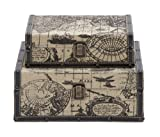Deco 79 Square Shape Traveling Boxes with Ancient World Map For Sale