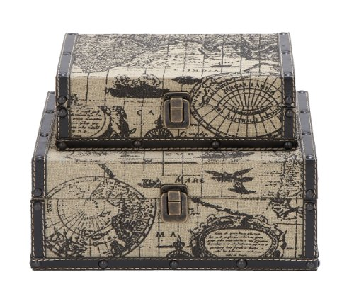 Deco 79 Square Shape Traveling Boxes with Ancient World (Deco Storage Box)