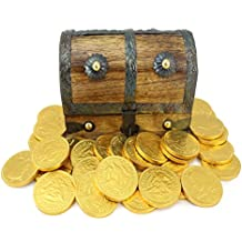 Mini Pirate Treasure Chest Filled 25 Large Gold Foil Milk Chocolate Coins By WellPackBox