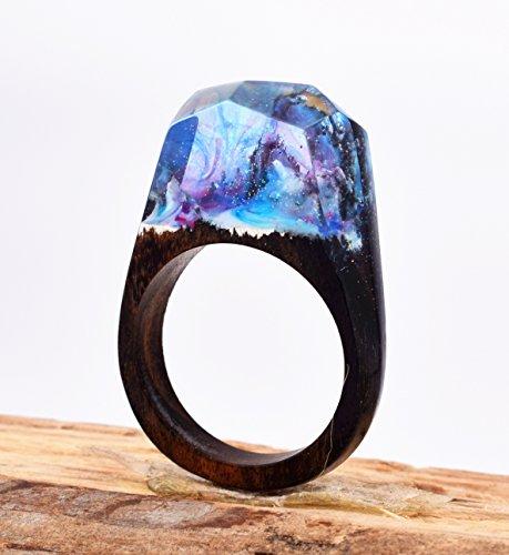 Heyou Love Handmade Wood Resin Ring With Secret Sky Landscape Inside Jewelry by Heyou Love (Image #5)