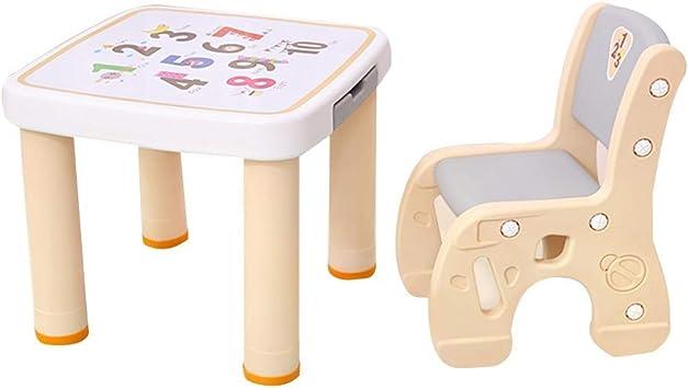 WFENG Juego de silla y mesa de plástico para niños Carta de ...