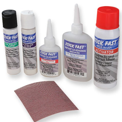 Stick Fast K575 CA Wood Finish Starter Kit (Best Ca Glue For Wood Turning)