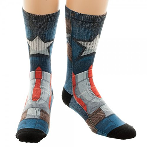 Marvel Civil War Captain America Adult Crew Sock 1 Size Fits Most 1 Pair