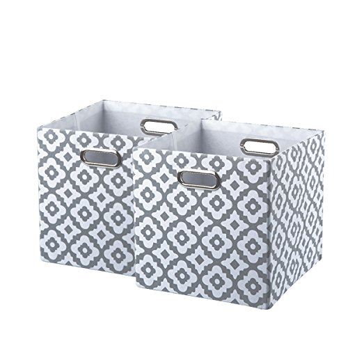 BAIST Cube Storage Baskets,Nice Collapsible Square Heavy Duty Fabric Decorative Cubby Storage Cubes Bins Baskets for Nursery Bedroom Office 2 Pack