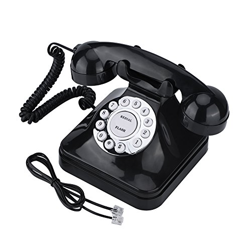 Retro Phone, Vintage Telephone Plastic Home Wire Landline Phone Support Flash, Re-dial and Reserve from Sanpyl