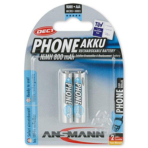 ANSMANN maxE DECT Micro AAA Akku Typ 800mAh geringe Selbstentladung Phone-Akku für Schnurlostelefone (2er Pack)