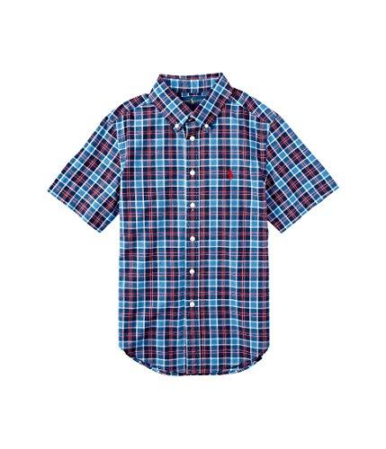 Polo Ralph Lauren Little Boys' Short Sleeve Madras Plaid Shirt (7 Big Kids, Blue/Navy Multi)