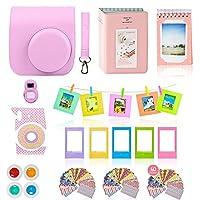Accesorios de la cámara Fujifilm Instax Mini 9 o Mini 8 El paquete de 11 juegos de PC incluye un estuche rosa + correa, 2 álbumes Fuji, filtros, lentes Selfie, marcos colgantes + creativos, 60 pegatinas y caja de regalo