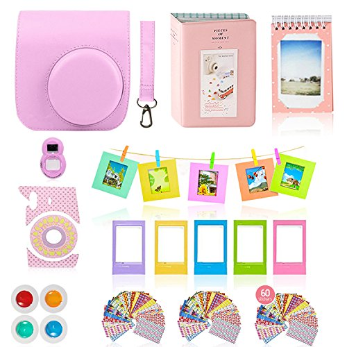 Fujifilm Instax Mini 9 or Mini 8 Camera Accessories Bundle 11 PC Gift kit Set Includes Pink Instax Case + Strap, 2...