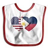 Philippines USA Flag Twin Heart Infant Toddler Bibs Super Absorbent Cute Design Baby Bib Funny Baby Shower - Gift