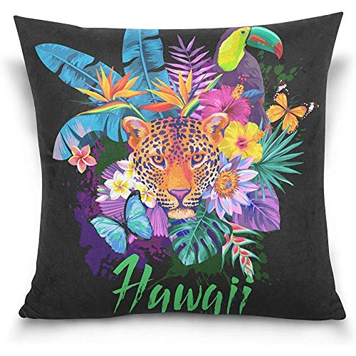 Tropical Hawaii Tiger Animals Floral Flowers Butterfly Decorative Square Throw Pillow Cases Covers Protectors Cotton 18 x 18 inch by Starotor
