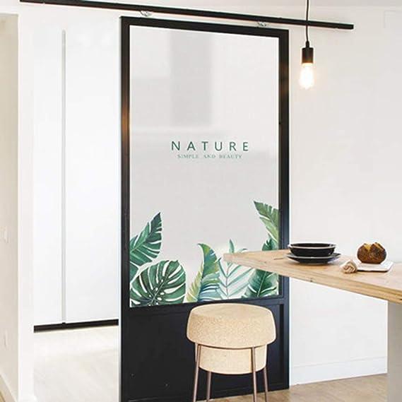 LJIEI Vinilo para Ventana Planta verde baño esmerilado inodoro puerta corredera ventana antideslumbrante vidrio pegatina película: Amazon.es: Bricolaje y herramientas