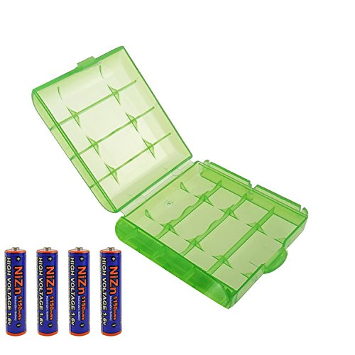Aaa Batteries Voltage - UltraCell Plus NiZn 1.6v AAA - 1150mWh High Voltage Rechargeable Batteries With Battery Storage Box (Combo for 4pcs AAA + 1pcs Green Battery Box)