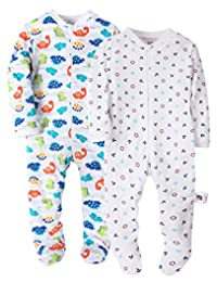 Marquebaby Baby Girls' Footed Pajama - 100% Cotton Zip Front Long Sleeves Romper