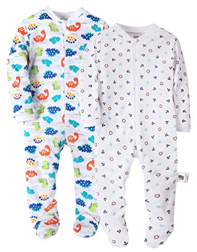 Dinosaurs&Anchor Baby Boys' Footed Pajama - 100% Cotton Zip Front Sleep and Play Sleeper 12M