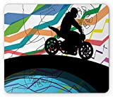Dirt Bike Mouse Pad, Sports Motorcycle with Rider Traveling The World on Abstract Stripes Backdrop, Standard Size Rectangle Non-Slip Rubber Mousepad, Multicolor