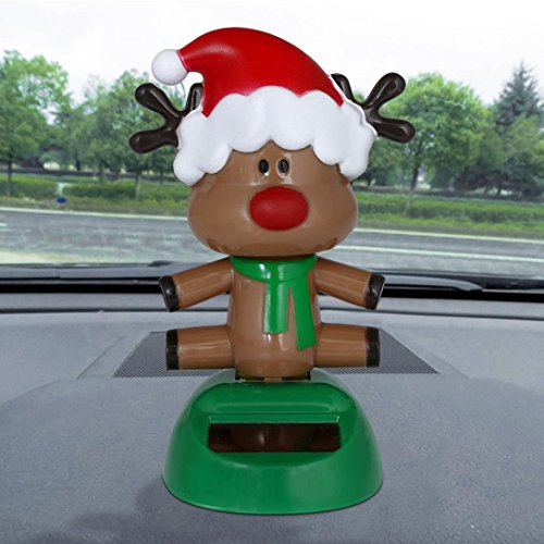 Malloom Solar Powered Santa Snowman Swinging Bobble Dacing Toy Christmas Home Car Decor (G)