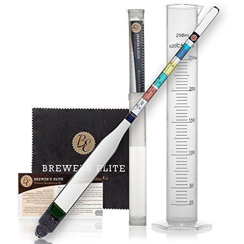 Brewer's Elite Hydrometer & Test Jar Combo, Hardcase, Cloth - Triple Scale Specific Gravity ABV Tester- for Wine, Beer, Mead and Kombucha Scale Hydrometer
