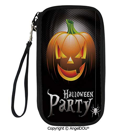 PUTIEN Printed Travel Passport Holder Purse Halloween Party Theme Scary Pumpkin on Abstract Modern Backdrop Spider Decorative with Double Zipper closure. ()