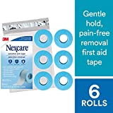 Nexcare Sensititive Skin Tape SIOC, Ideal for Those with Fragile or Sensitive Skin, Long Term Adhesion, 1'' X 4 Yard Roll, 6 Rolls