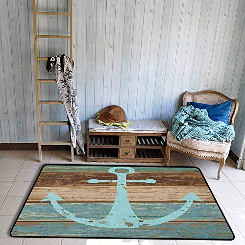 Non-Slip Rug,Anchor Timeworn Marine Symbol on Weathered Wooden Planks Rustic Nautical Theme,Rustic Home Decor,4