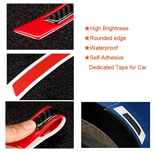 Red Black 4 Trailer Reflector Car Reflective Self Adhesive Safety Warning Conspicuity Tape,Waterproof Honeycomb Reflective Tape Band Stickers for Truck Auto Door Edge Protector Guards Accessories
