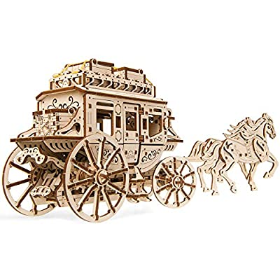 UGEARS Mechanical Wooden 3D Puzzle Model Stagecoach Construction Set: Toys & Games