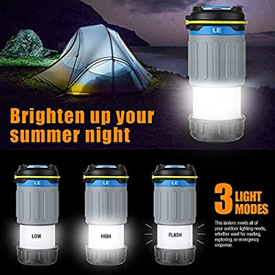LE Rechargeable CREE LED Camping Lantern, 330lm, 3200 mAh USB Power Bank, Collapsible & Magnetic Camping Lights, 3 Modes Tent Light, Emergency Lantern/Portable Charger for Outdoor Activities