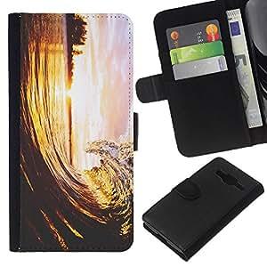 All Phone Most Case / Oferta Especial Cáscara Funda de cuero Monedero Cubierta de proteccion Caso / Wallet Case for Samsung Galaxy Core Prime // Wave Surf Beach Sea Ocean Island Nature