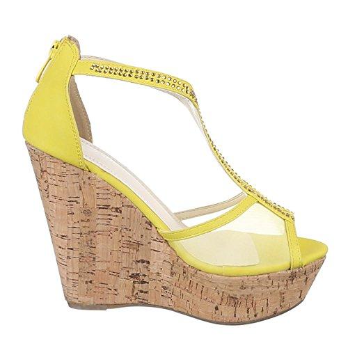 Ital-Design Damen Schuhe, ZH653, Sandaletten High Heels Pumps Keil Gelb