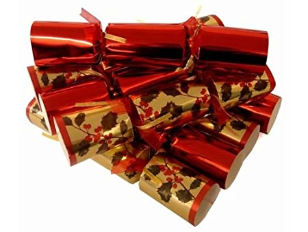 8 pack large premium luxury christmas crackers with free 8 table place cards red