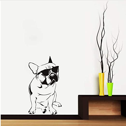 Waofe Bulldog Francés Con Gafas De Sol Etiqueta De La Pared ...