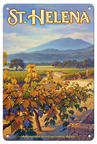 Pacifica Island Art 8in x 12in Tin Sign - St. Helena Wineries - Collins Holystone Vineyards by Kerne Erickson