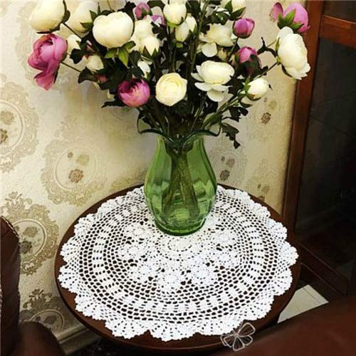 Blue Stones Christmas Home Decorative Hand Crochet Lace Doily Round Table Topper Small Tablecloth Beautiful Knitted Dining Table Runner ()